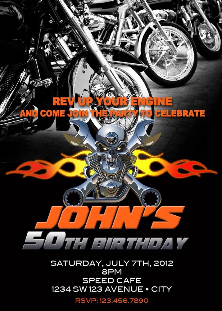Motorcycle Invitation Printable File Diy - Bike Birthday Invitation   Harley Davidson Cards Printable