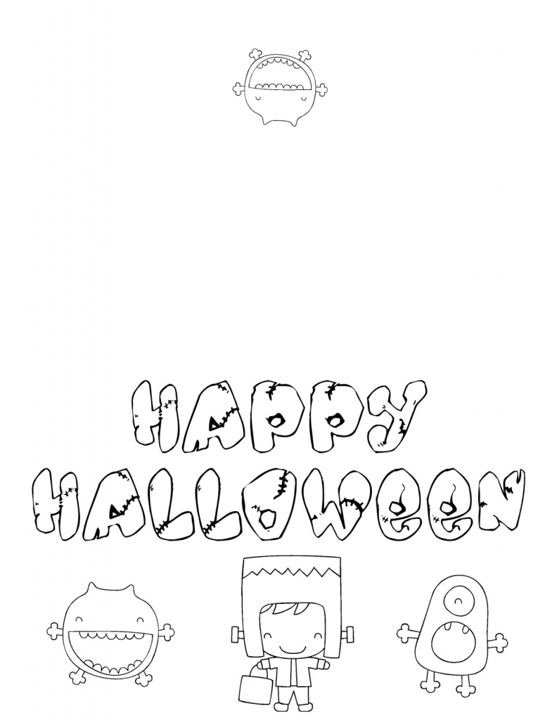 Musings Of An Average Mom: Free Halloween Cards To Color   Printable Halloween Cards To Color For Free