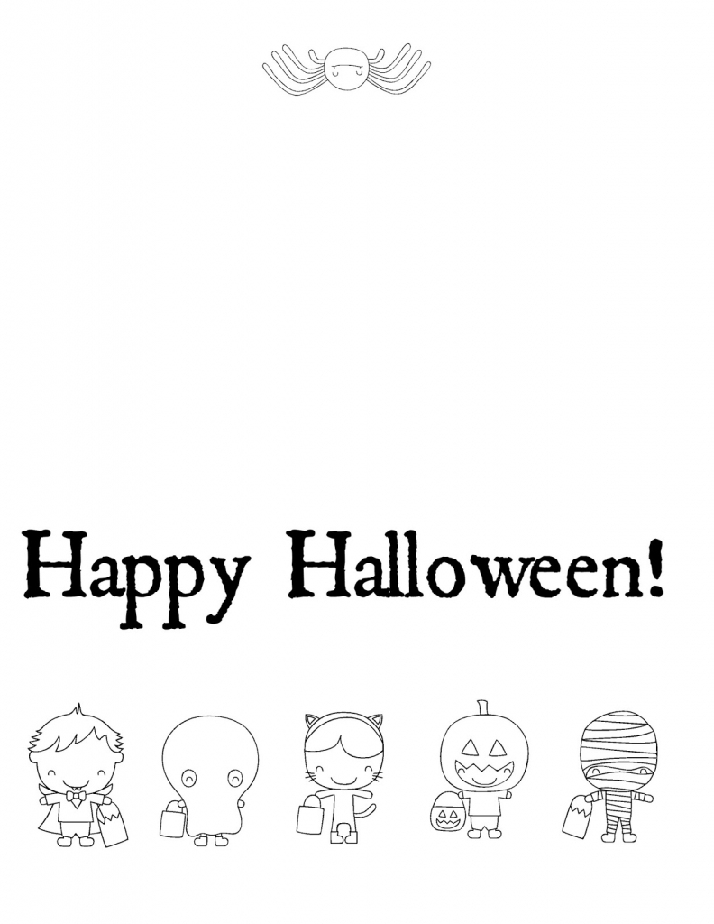 Musings Of An Average Mom: Free Halloween Cards To Color - Printable   Printable Halloween Cards To Color For Free