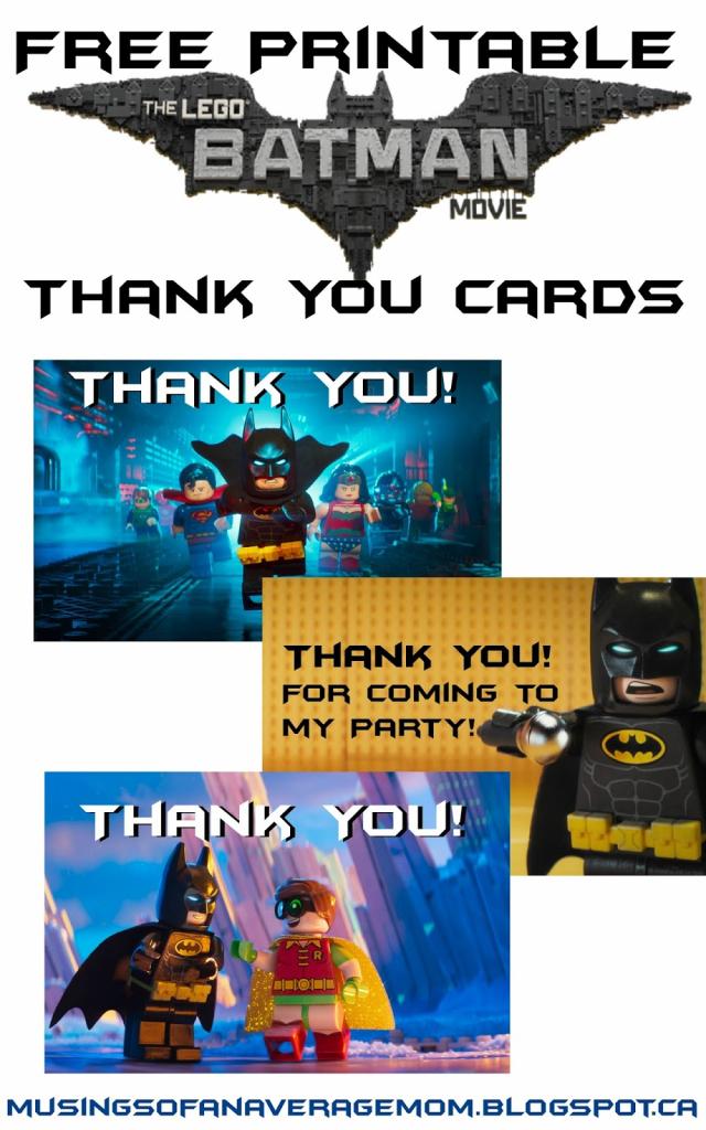 Musings Of An Average Mom: Lego Batman Thank You Cards | Batman Thank You Cards Printable