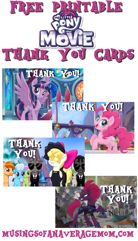 Musings Of An Average Mom: My Little Pony Movie Thank You Cards | Free Printable My Little Pony Thank You Cards
