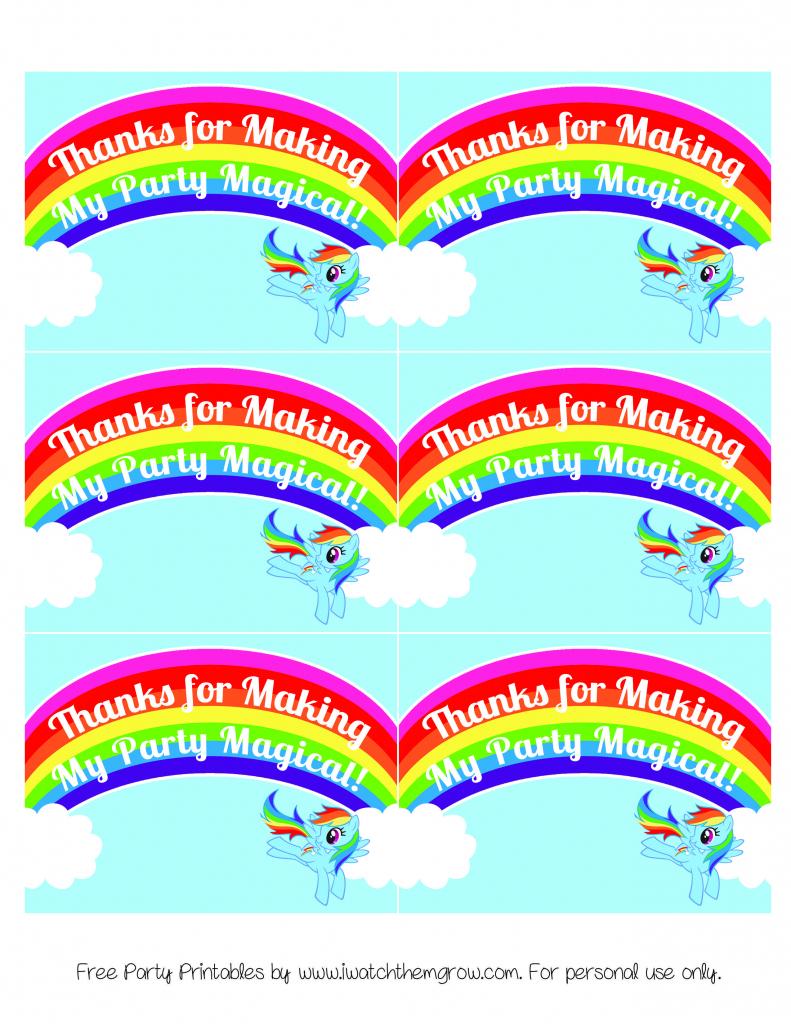 My Little Pony Rainbow Dash Birthday Party Printables | My Little | Free Printable My Little Pony Thank You Cards