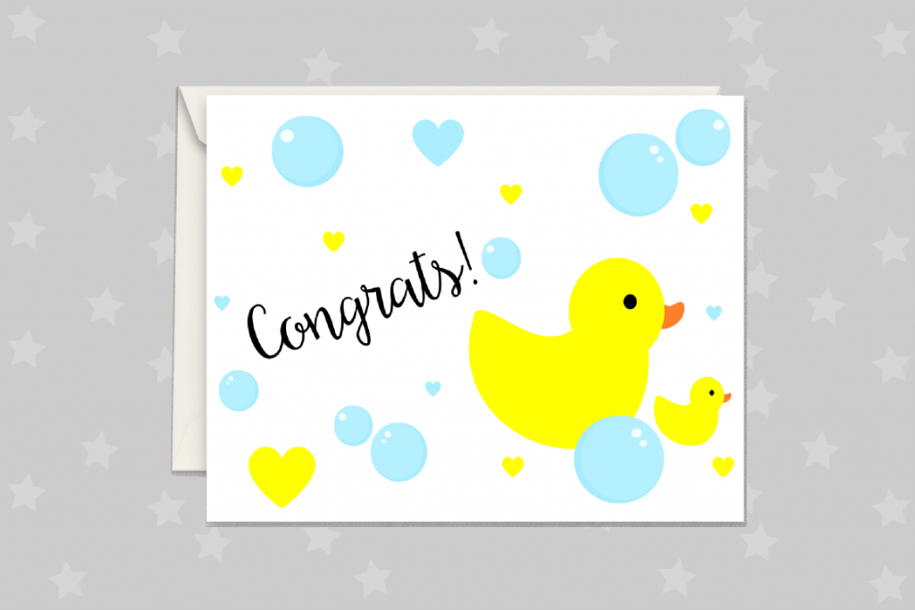 New Baby Card, Rubber Duck Greeting Card Printable   Baby Greeting Cards Printable