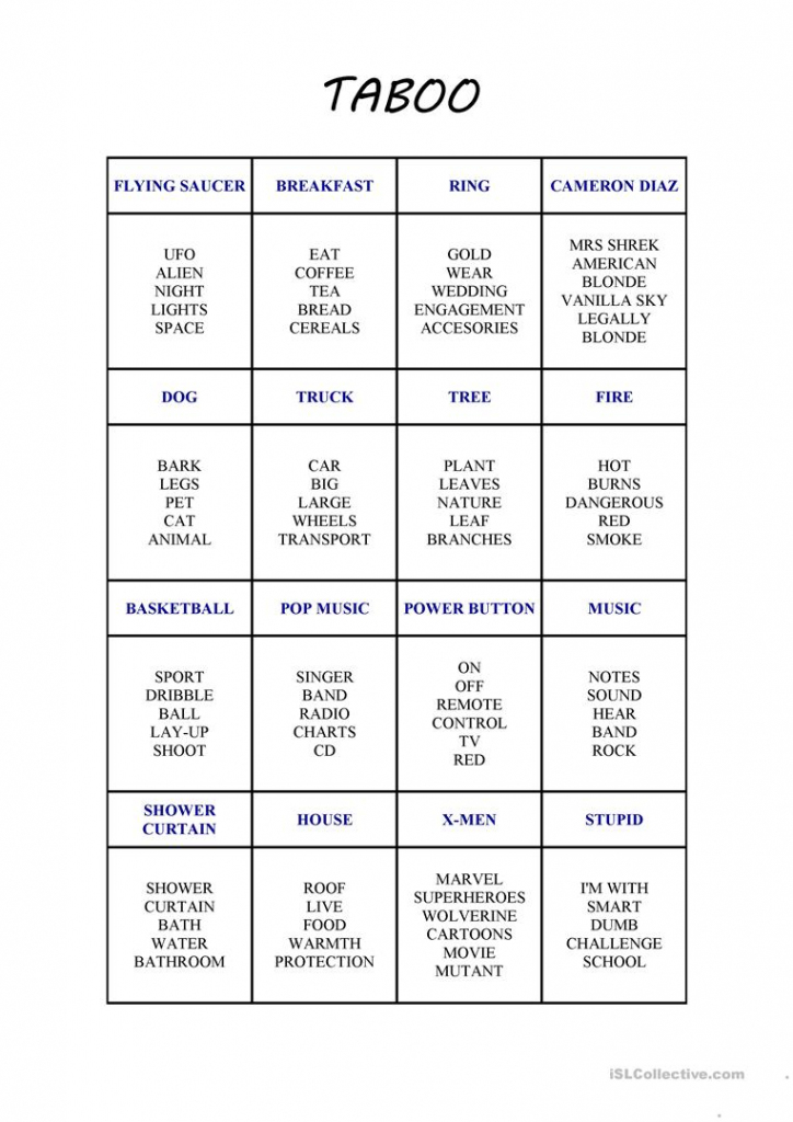 New Taboo Card Game Worksheet - Free Esl Printable Worksheets Made | Esl Taboo Cards Printable