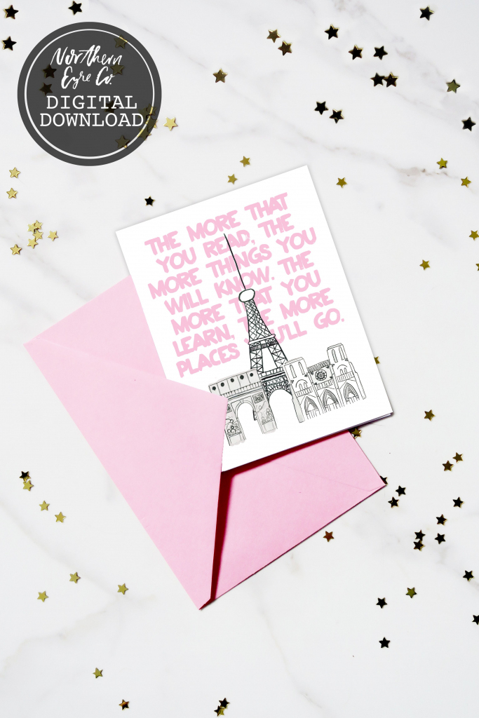 """Northern Eyre Co. Etsy Shop - Printable Birthday Card! """"the More You 