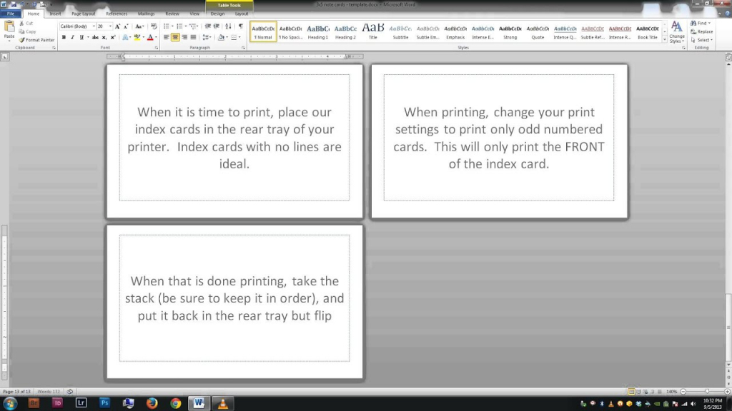 Note/index Cards - Word Template - Youtube   Printable Index Cards 3X5