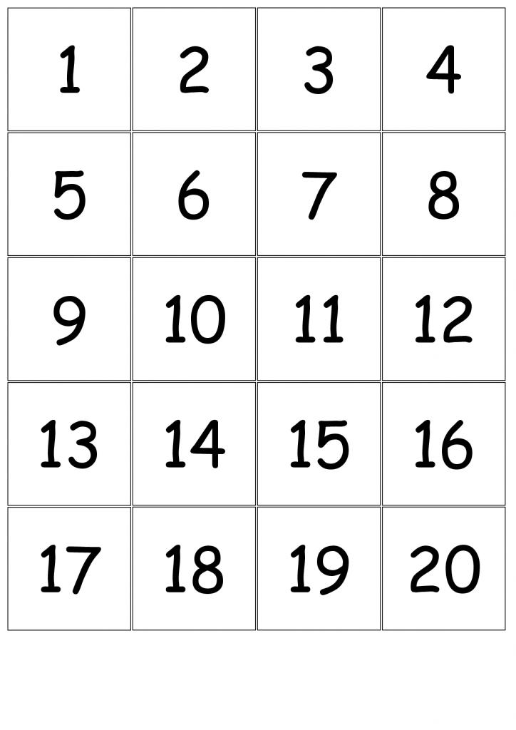 Number Card Templates - Kleo.bergdorfbib.co | Printable Bingo Cards 1 20