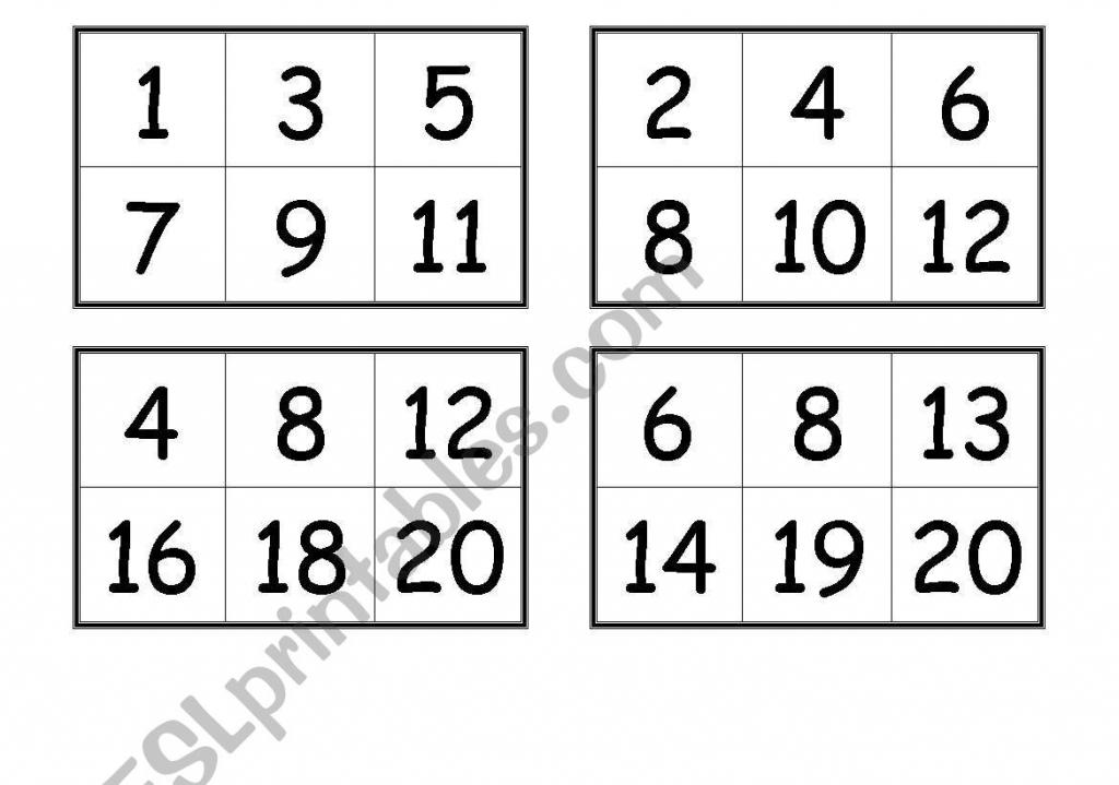 Numbers Bingo Cards (From 1 To 20) - Esl Worksheetcreguen   Printable Bingo Cards 1 100