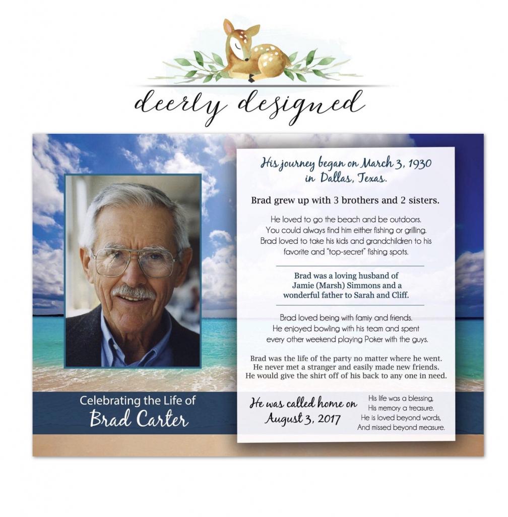 Ocean Beach Funeral Program Printable Memorial Card | Etsy | Printable Memorial Cards For Funeral