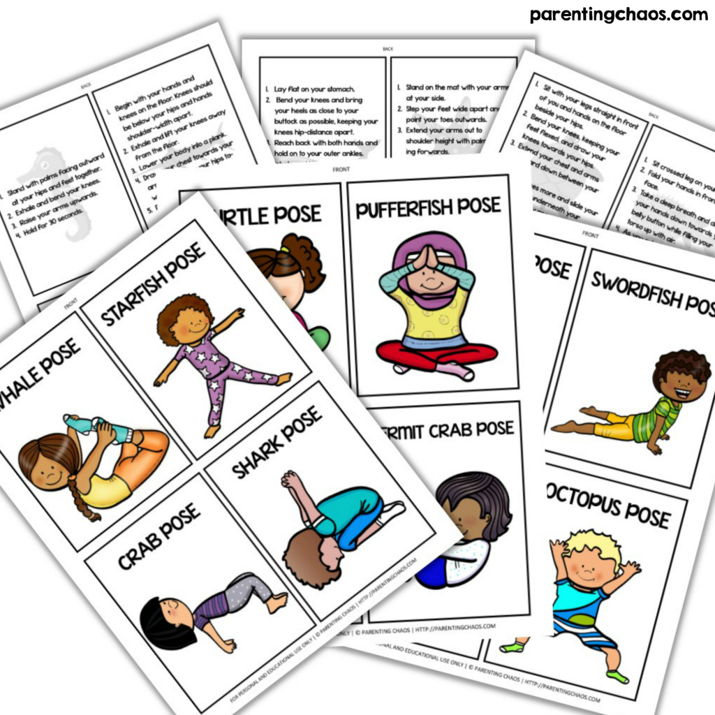 Ocean Themed Yoga For Kids ⋆ Parenting Chaos   Abc Yoga Cards Printable