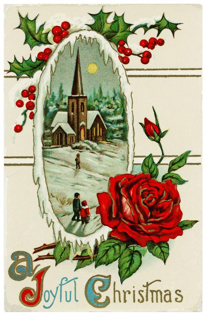 Old Design Shop ~ Free Printable Vintage Postcard A Joyful Christmas | Printable Vintage Christmas Cards