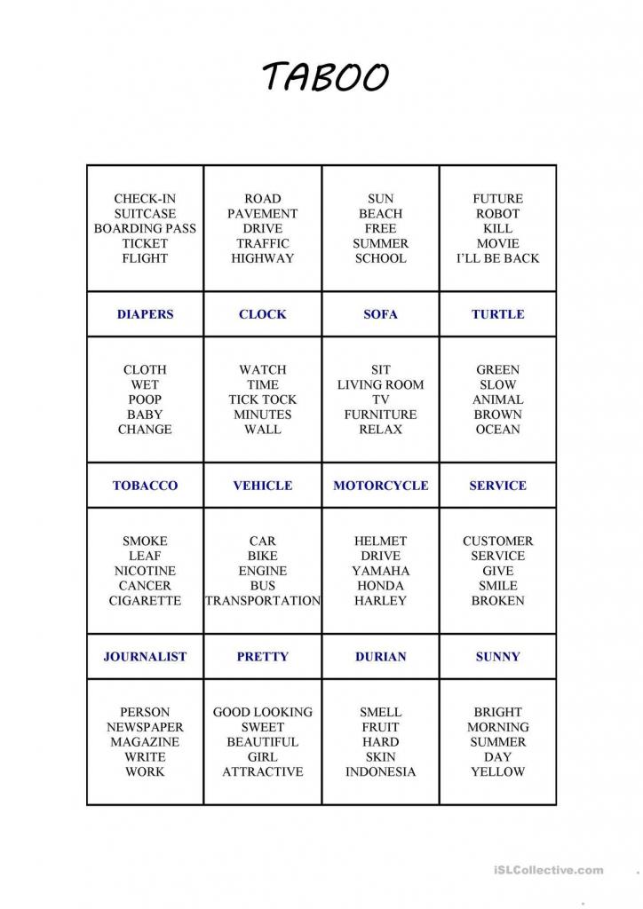 One-Click Print Document | Family Ideas | Taboo Cards, Taboo Game | Taboo Game Cards Printable