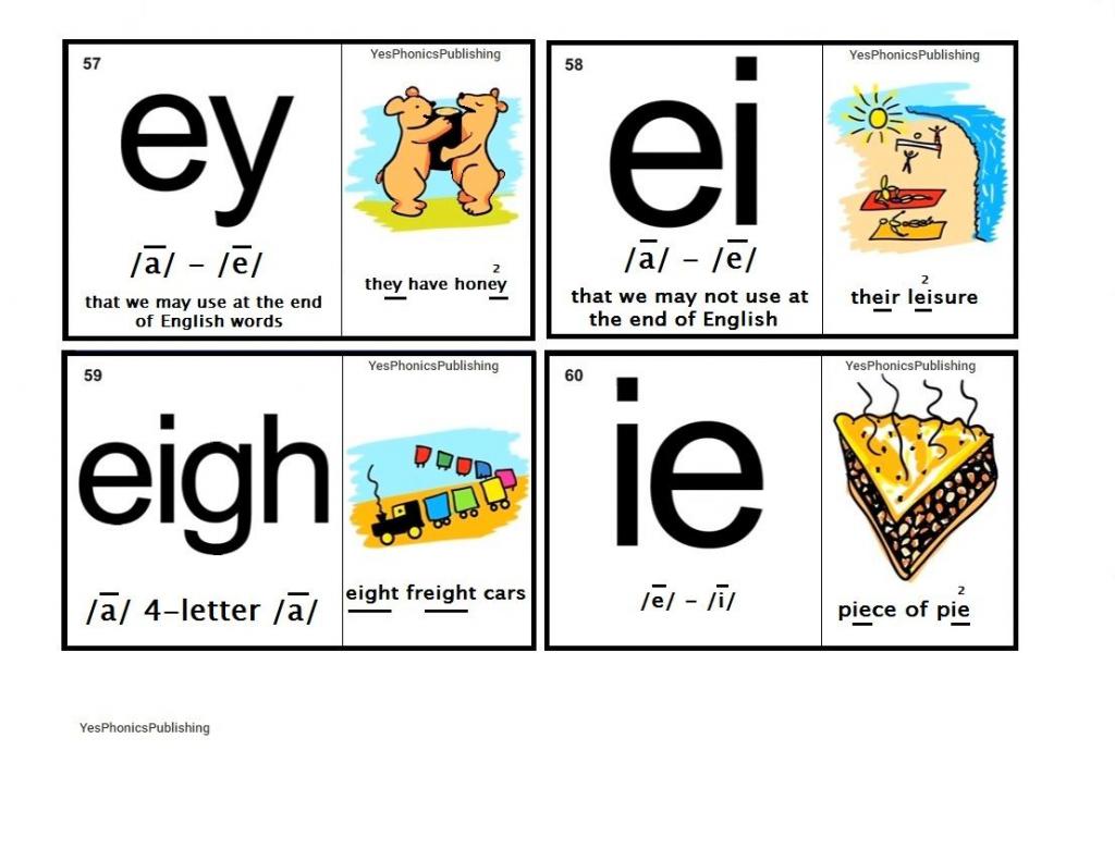 Orton-Spalding Phonograms - Illustrated Flash Cards - 'ey', 'ei   Spalding Phonogram Cards Printable
