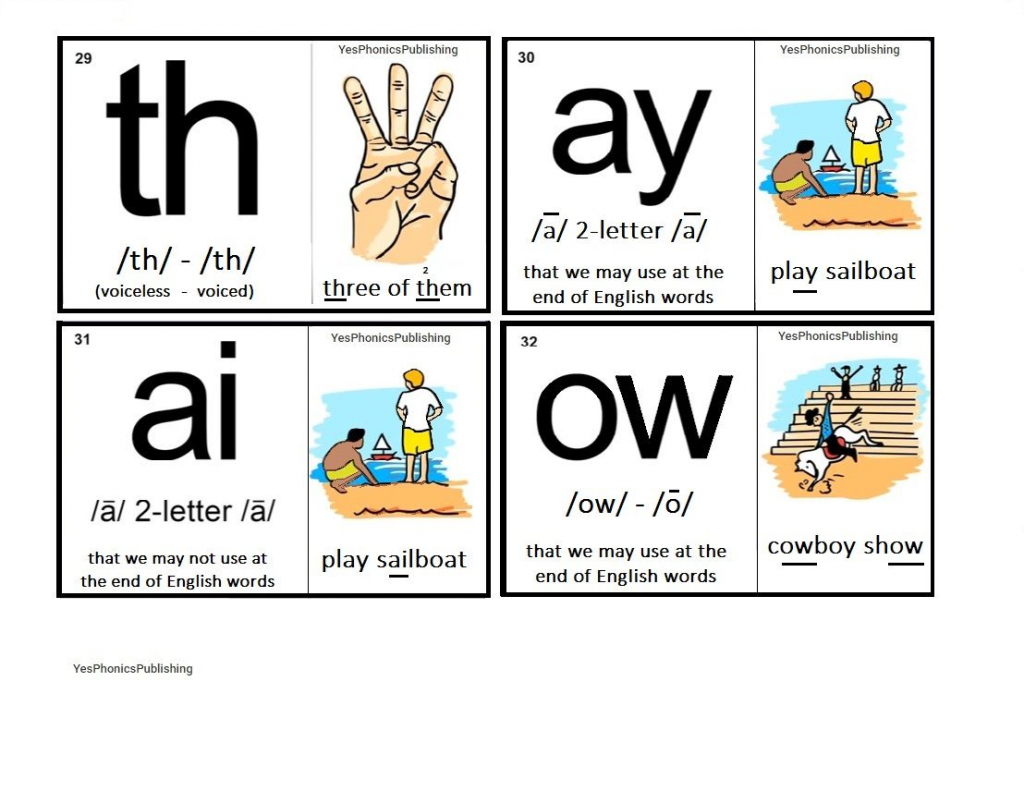 Orton-Spalding Phonograms - Illustrated Flash Cards - 'th', 'ay   Spalding Phonogram Cards Printable