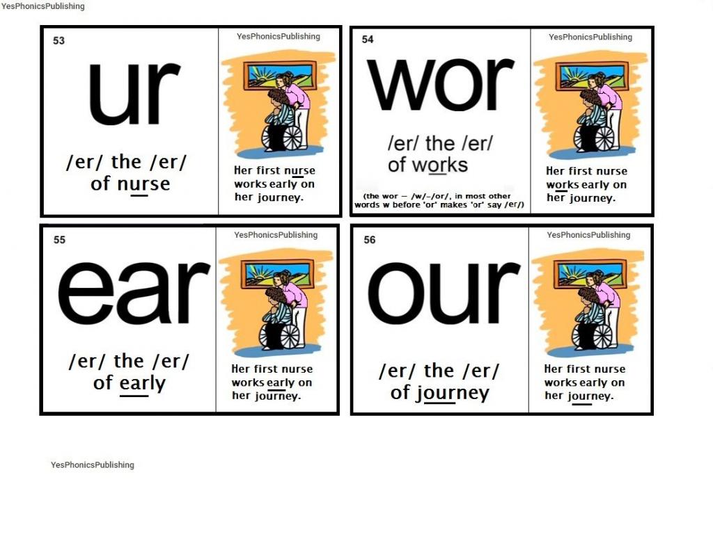Orton-Spalding Phonograms - Illustrated Flash Cards - 'ur', 'wor   Spalding Phonogram Cards Printable