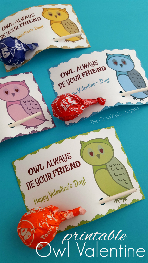 Owl Printable Valentine's Day Cards – The Centsable Shoppin | Free Printable Owl Valentine Cards