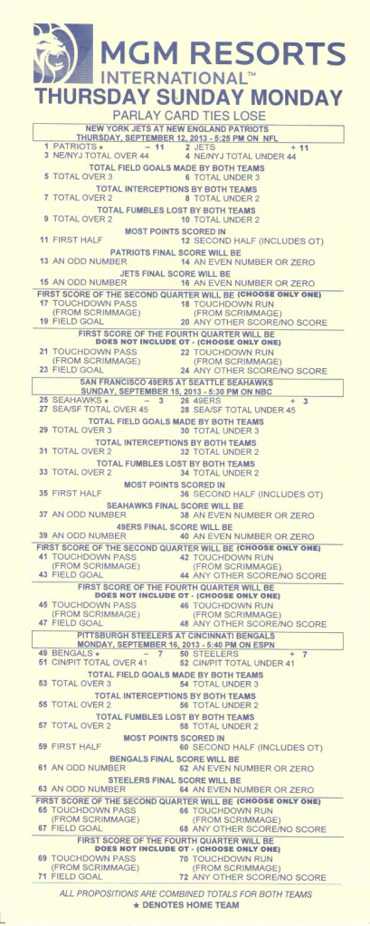 Parlay Bets In The Nfl | Football Parlay Cards Printable