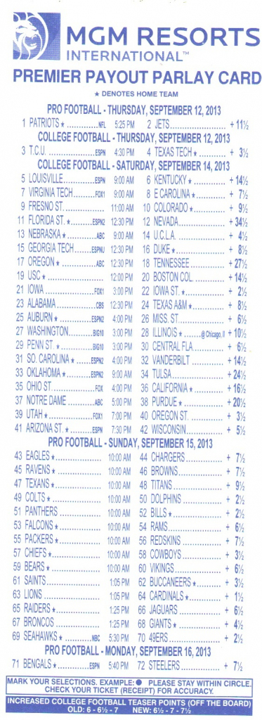 Parlay Bets In The Nfl | Free Printable Parlay Cards