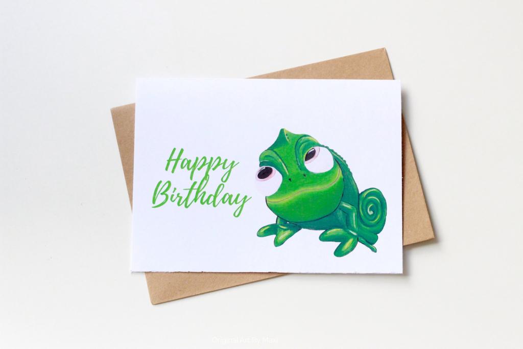 Pascal Birthday Card Disney Tangled Printable Painted Cards | Etsy | Printable Rapunzel Birthday Card