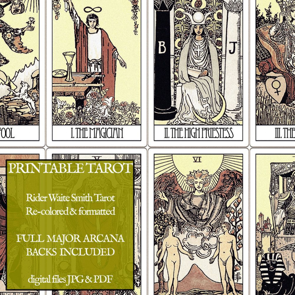 Pdf - Printable Tarot Cards - Rider Waite Major Arcana - Vintage | Printable Tarot Cards Pdf Free