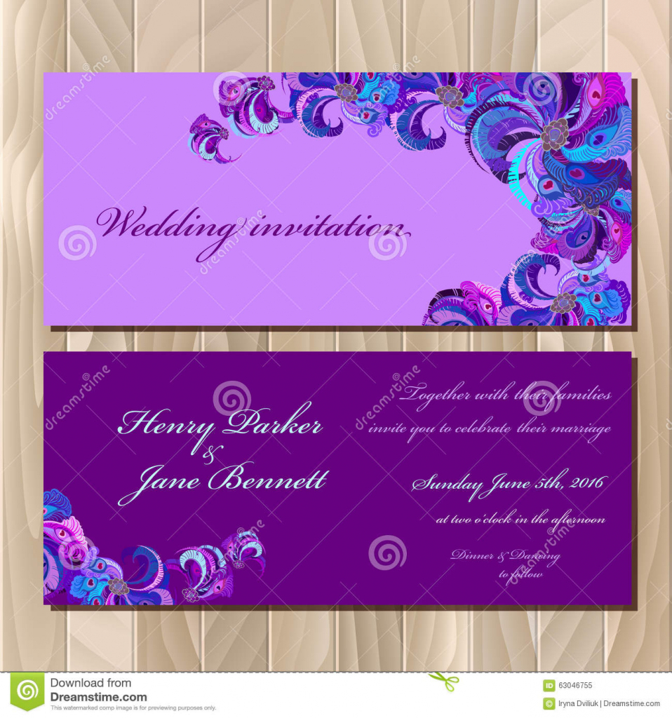 Peacock Feathers Wedding Invitation Card. Printable Vector   Printable Invitation Card Stock
