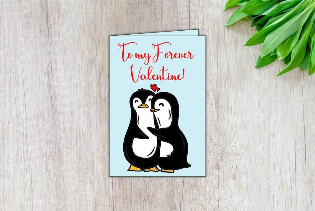 Penguin Valentine Card Digital Valentine Card Printable | Etsy | Printable Penguin Valentine Cards