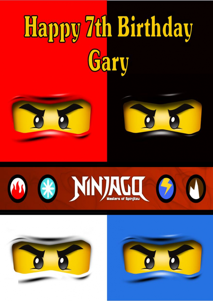 Personalised Lego Ninjago Birthday Card | Ninjago Printable Birthday Card