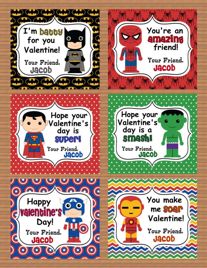Personalized Superheroes Boys Valentine Class Cards Por Susanefird   Free Printable Superman Valentine Cards