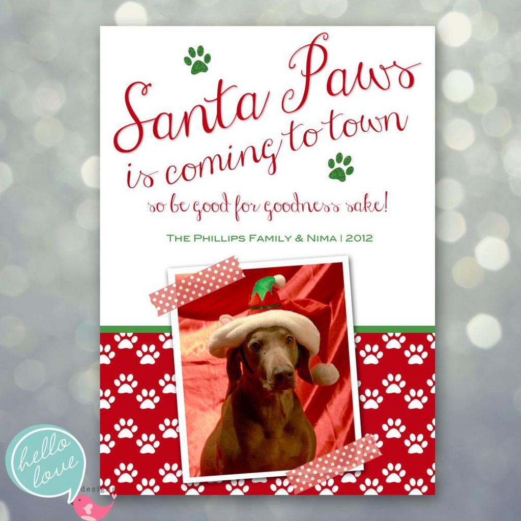Photo Christmas Card - Santa Paws Dog Pet Holiday. $16.00, Via Etsy   Christmas Cards For Dogs Printable
