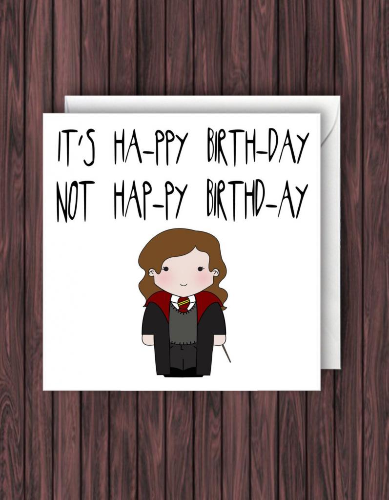 Pin Van Sophie Van Weelden Op Handletteren - Harry Potter Birthday   Harry Potter Birthday Card Printable