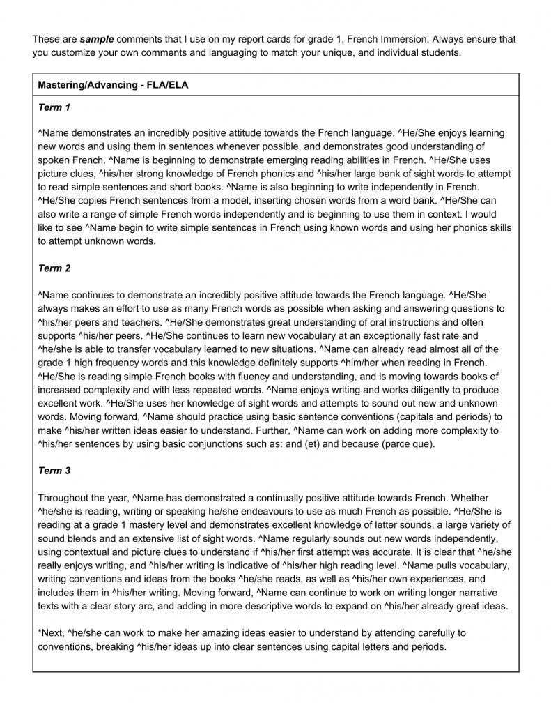 Pinjayne Chan On Report Card Comments   Report Card Comments   Free Printable Report Card Comments