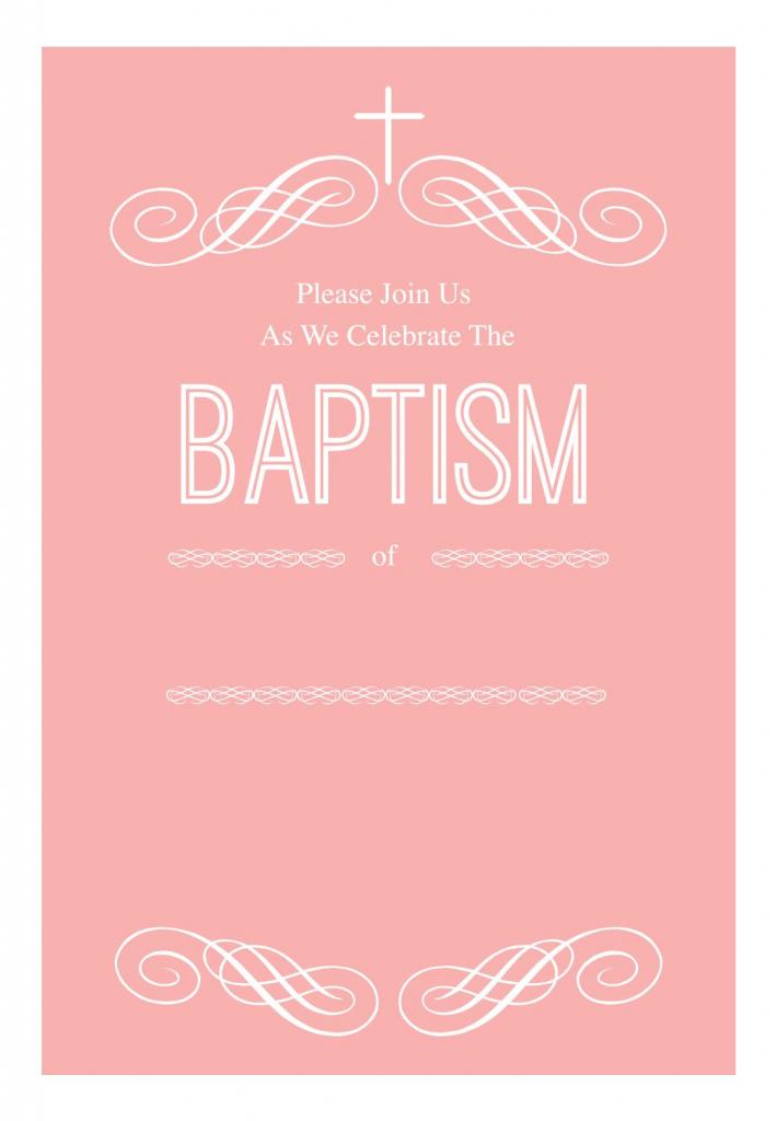 Pink Decorations - Free Printable Baptism & Christening Invitation | Free Printable Baptism Greeting Cards