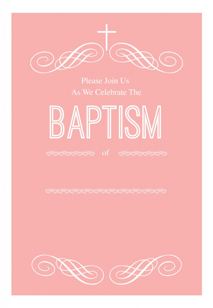 Pink Decorations - Free Printable Baptism & Christening Invitation | Printable Baptism Christening Cards