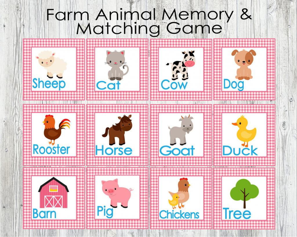 Pink Farm Animal Matching And Memory Game. Printable Game For   Etsy   Animal Matching Cards Printable