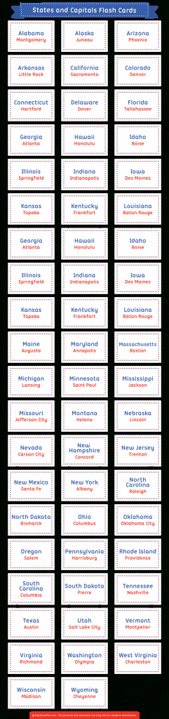 Pinmuse Printables On Flash Cards At Flashcardfox   States   States And Capitals Flash Cards Printable