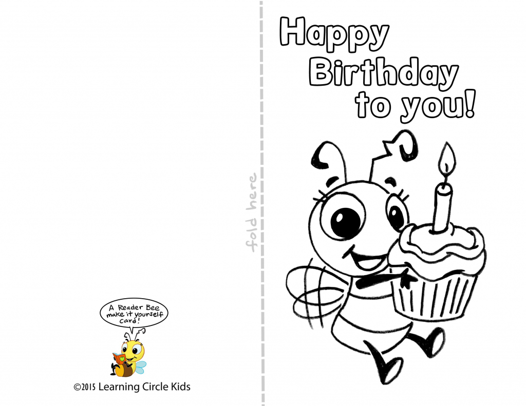Pinreader Bee On Birthday Celebration - Bee Style | Free | Free Printable Birthday Cards For Kids