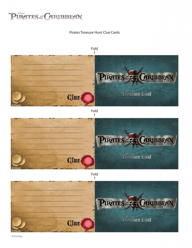 Pirates Of The Caribbean Treasure Hunt Clue Cards | Disney Family | Treasure Hunt Printable Clue Cards