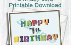 Pixel,birthday Card,happy 7Th Birthday,digital Download | 7Th Birthday Card Printable
