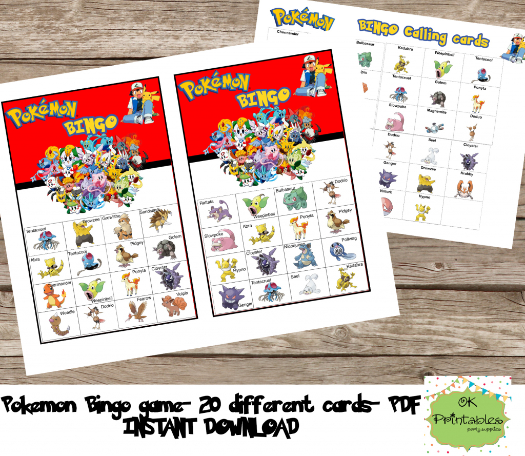 Pokemon Bingo Game (Include 20 Different Cards)- Pokemon Printable | Pokemon Bingo Cards Printable