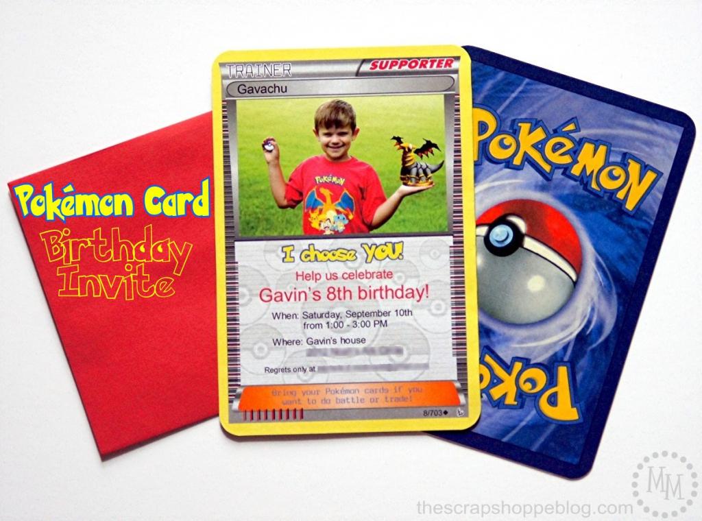 Pokémon Card Birthday Invitation - The Scrap Shoppe | Pokemon Birthday Card Printable