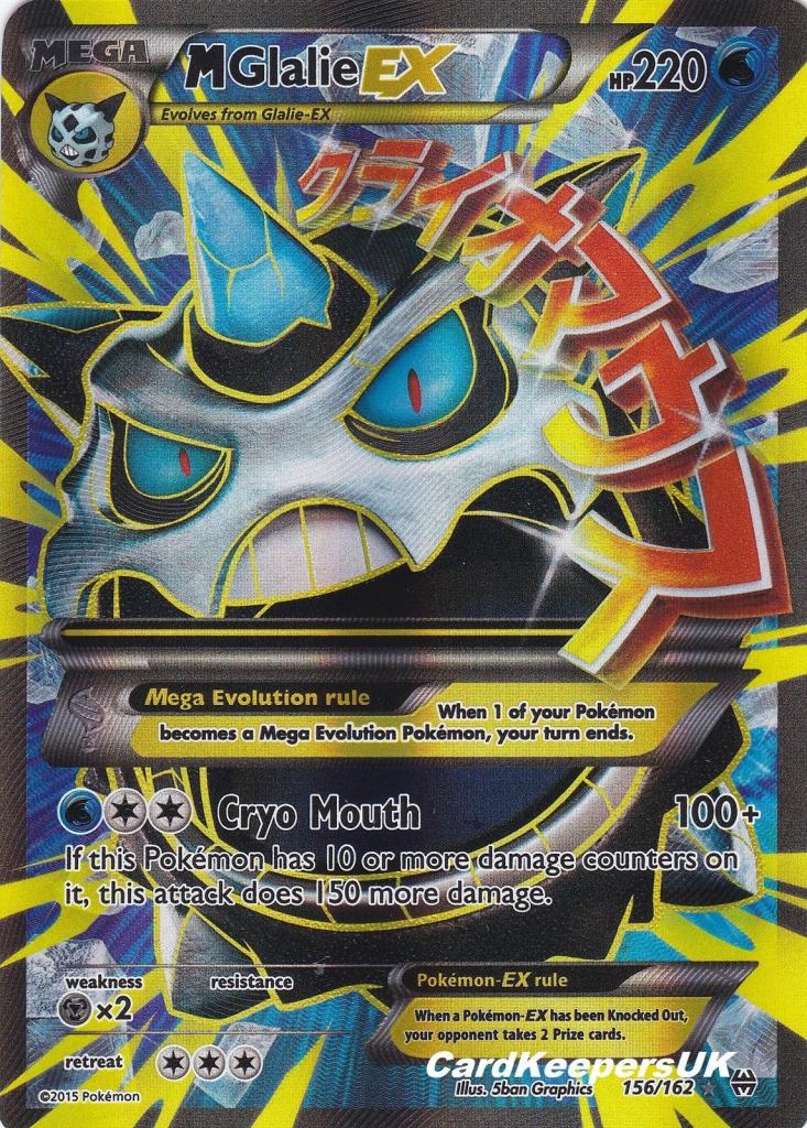 Pokemon Card Mega Glalie Ex 156 162 Full Art - Xy Breakthrough Mint | Printable Pokemon Cards Mega Ex