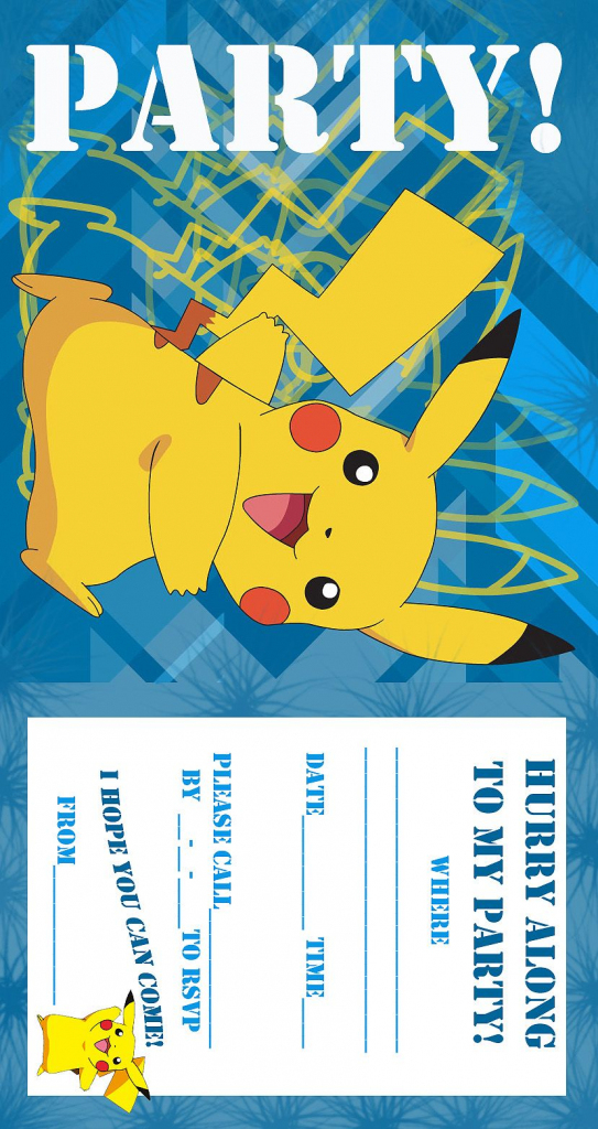Pokemon Coloring Pages: Birthday Party Invitation Free And Printable | Pokemon Birthday Card Printable