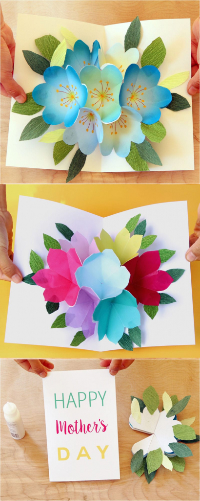 Pop Up Flowers Diy Printable Mother's Day Card - A Piece Of Rainbow   Free Printable Pop Up Birthday Card Templates
