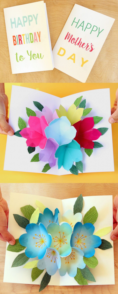 Pop Up Flowers Diy Printable Mother's Day Card - A Piece Of Rainbow   Mother's Day Card Maker Printable