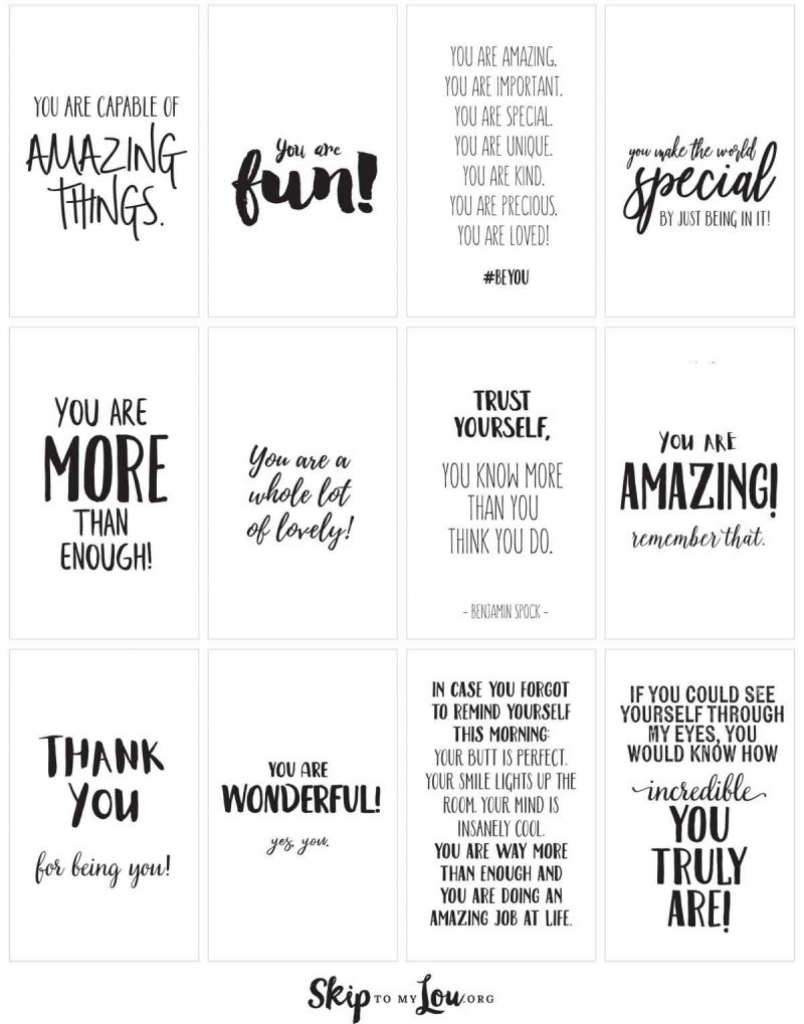 Positive Affirmations {Print And Share With Friends}   Skip To My Lou   Free Printable Positive Affirmation Cards