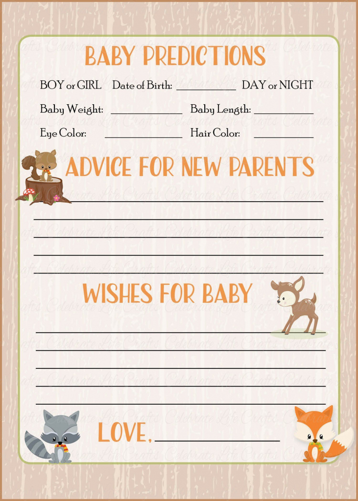 Prediction & Advice Cards - Printable Download - Forest Animals   Baby Shower Printable Prediction Cards