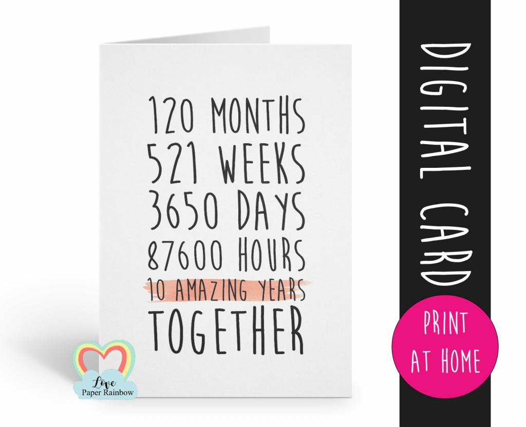 Printable 10Th Anniversary Card, 10Th Wedding Anniversary Card, 10 | Printable Wedding Anniversary Cards