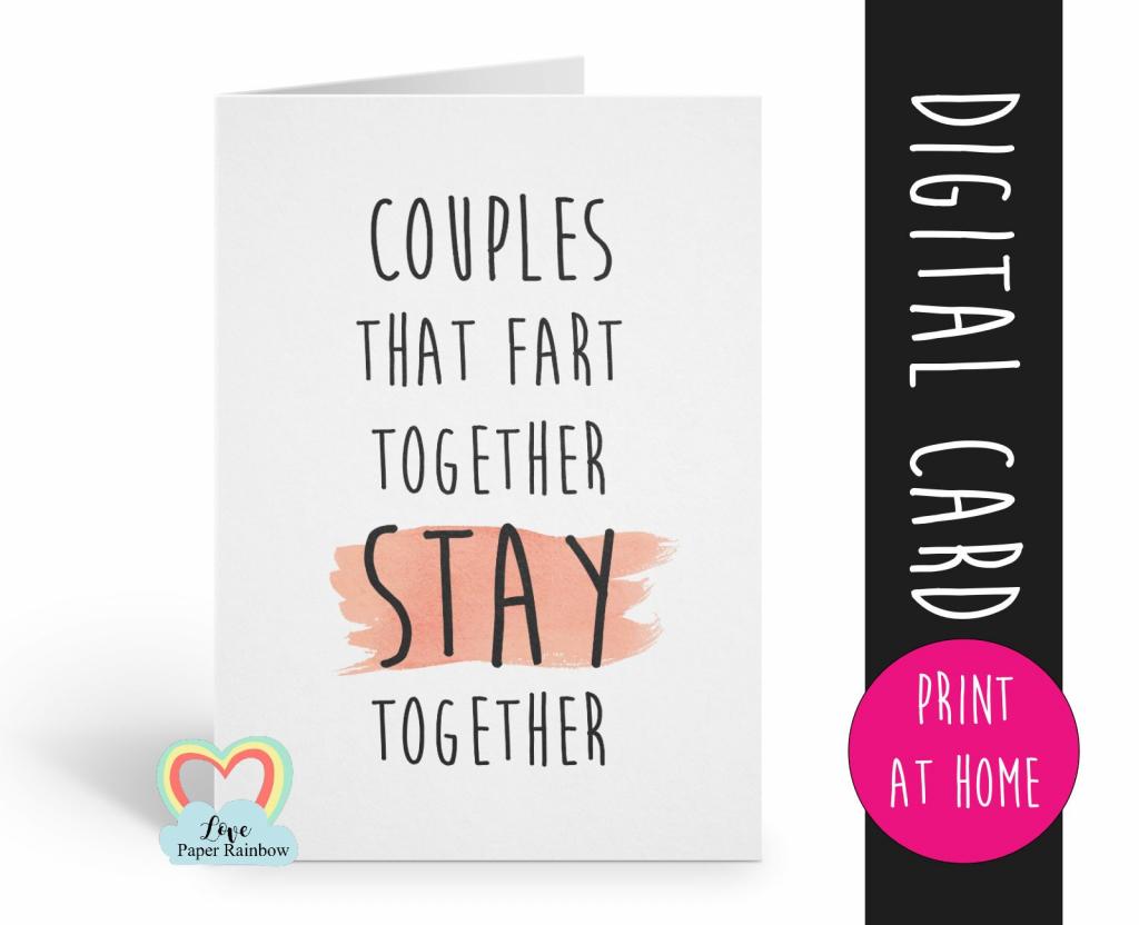 Printable Anniversary Card, Fart Anniversary, Romantic Card, Couples | Funny Printable Anniversary Cards