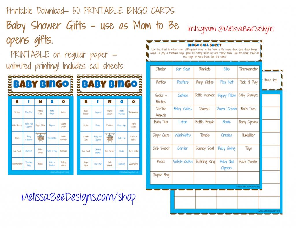 Printable Baby Shower Bingo (Boy) 50 Different Cards 2 Per Page | Cowboy Bingo Printable Cards