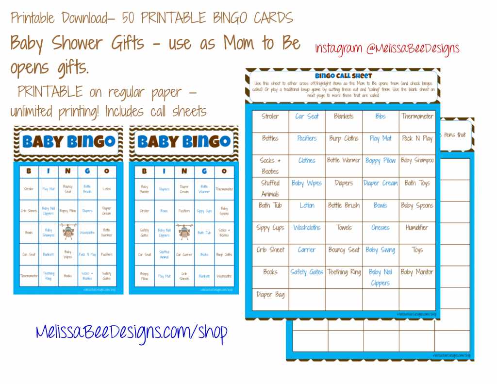 Printable Baby Shower Bingo (Boy) 50 Different Cards 2 Per Page | Printable Bingo Cards 2 Per Page